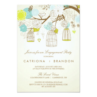 """BLUE AND YELLOW BIRDCAGES ENGAGEMENT PARTY INVITE 5"""" X 7"""" INVITATION CARD"""