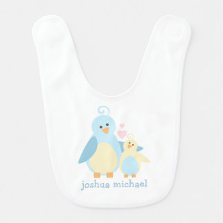 Blue and Yellow Birds Personalized Baby Bibs