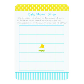 Blue and Yellow Boy Chick Baby Shower Bingo Card