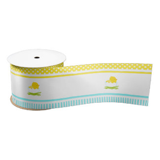 Blue and Yellow Boy Chick Satin Ribbon