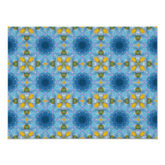 """Blue and yellow bright poster print  (16"""" x 12"""") m"""