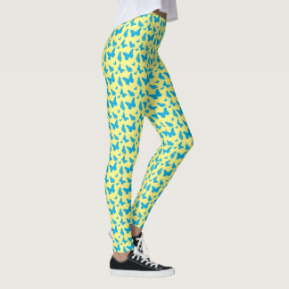 Blue and yellow butterflies leggings