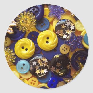 Blue and Yellow Button Collage Classic Round Sticker