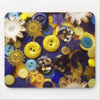 Blue and Yellow Button Collage mousepad