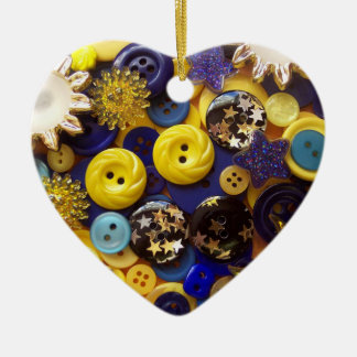 Blue and Yellow Button Collage Ornament