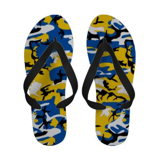 Blue and Yellow Camo Flip Flops