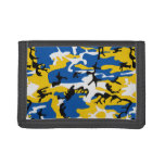 Blue and Yellow Camo Trifold Wallets