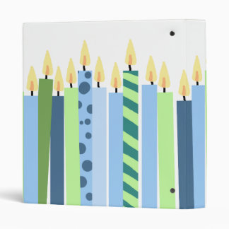 Blue and Yellow Candles Boys Birthday Binder
