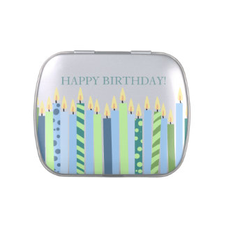 Blue and Yellow Candles Boys Birthday Jelly Belly Tins