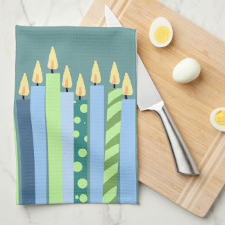Blue and Yellow Candles Boys Birthday Towel