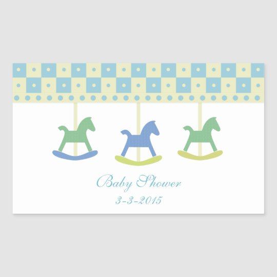 Blue and Yellow Carousel: Baby Shower Stickers
