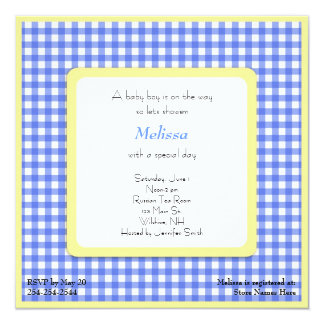 """Blue and Yellow Checked Baby Shower Invitation 5.25"""" Square Invitation Card"""