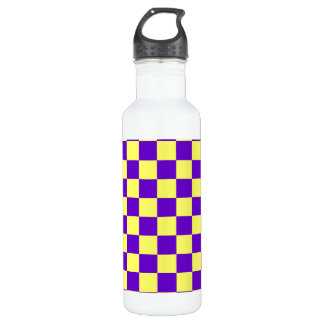 Blue and Yellow Checks Stainless Steel Water Bottle