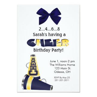 "Blue and Yellow Cheer Birthday Invitation 5"" X 7"" Invitation Card"