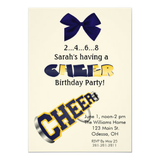 "Blue and Yellow Cheer Megaphone Invitation 5"" X 7"" Invitation Card"