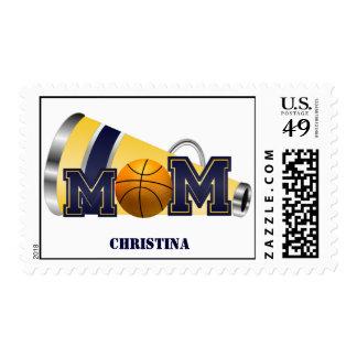 Blue and Yellow Cheer Mom Basketball Postage Stamp
