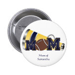 Blue and Yellow Cheer Mom Button