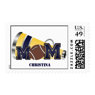 Blue and Yellow Cheer Mom Football Postage Stamp