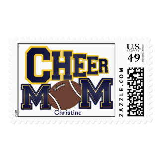 Blue and Yellow Cheer Mom Postage Stamp