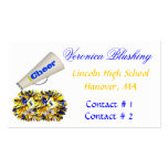 Blue and Yellow Cheerleader Business Card