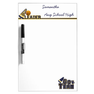Blue and Yellow Cheerleader Dry Erase Board
