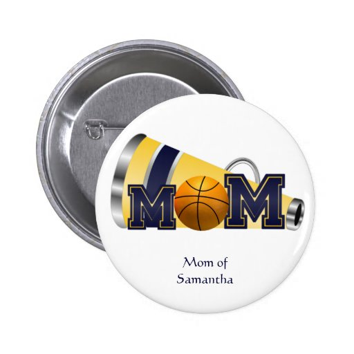 Blue and Yellow Cheerleader Mom Button