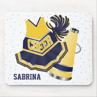 Blue and Yellow Cheerleading Mouse Pad