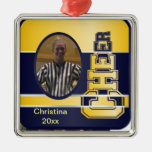 Blue and Yellow Cheerleading Photograph Ornament