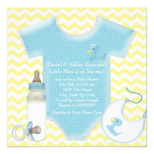 blue and yellow chevron baby boy shower square paper