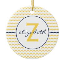 Blue and Yellow Chevron Monogram Ceramic Ornament