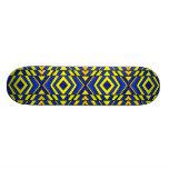 Blue and Yellow Chevron Pattern Custom Skate Board