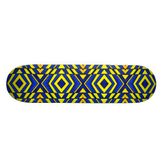 Blue and Yellow Chevron Pattern Skateboard