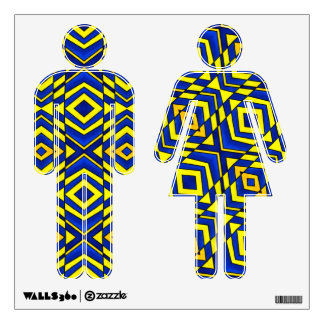 Blue and Yellow Chevron Pattern Wall Decals