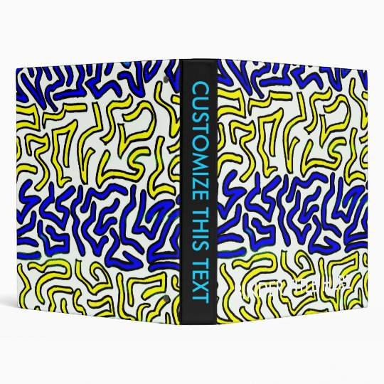blue and yellow chunky doodle white back binder