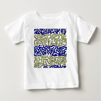 blue and yellow chunky doodle white back shirt