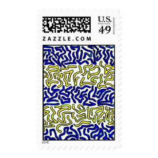 blue and yellow chunky doodle white back stamp