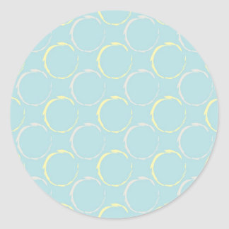 Blue and Yellow Coffee Stains, Circles Pattern Sticker
