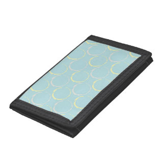 Blue and Yellow Coffee Stains, Circles Pattern Trifold Wallet