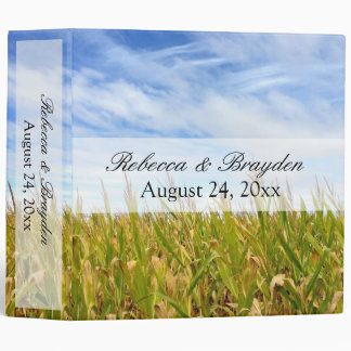Blue and Yellow Cornfield Farm Country Wedding 3 Ring Binder