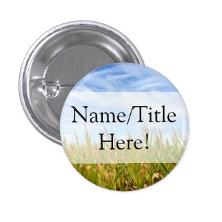 Blue and Yellow Cornfield Farm Country Wedding Button
