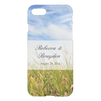 Blue and Yellow Cornfield Farm Country Wedding iPhone 8/7 Case