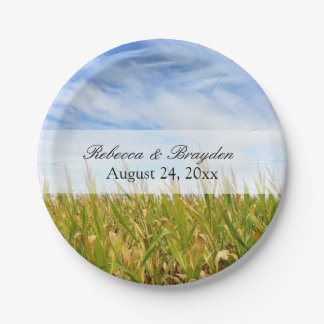 Blue and Yellow Cornfield Farm Country Wedding Paper Plate