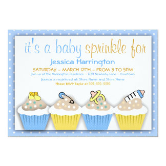Blue and Yellow Cupcakes Baby Sprinkle Invitations
