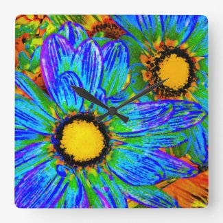 Blue and Yellow Daisies Pop Art Wallclock