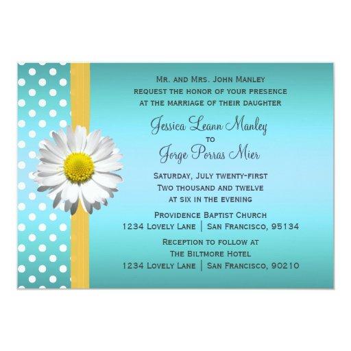Blue And Yellow Daisy Wedding Invitation Zazzle