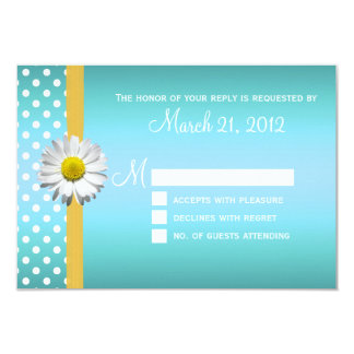 Blue and Yellow Daisy Wedding RSVP Card