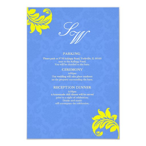 Blue and Yellow Damask Wedding Enclosure Card Announcement