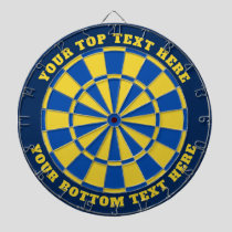 Blue and Yellow Dartboard with Custom Text