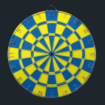 "Blue And Yellow Dartboard With Darts<br><div class=""desc"">Blue And Yellow Dart Board</div>"