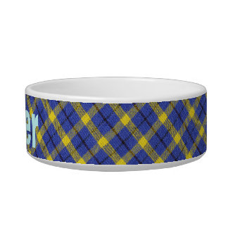 Blue And Yellow Diagonal Plaid Fabric Design Bowl